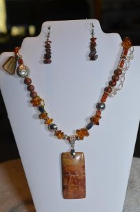 Picture Jasper Pendant and Earrings
