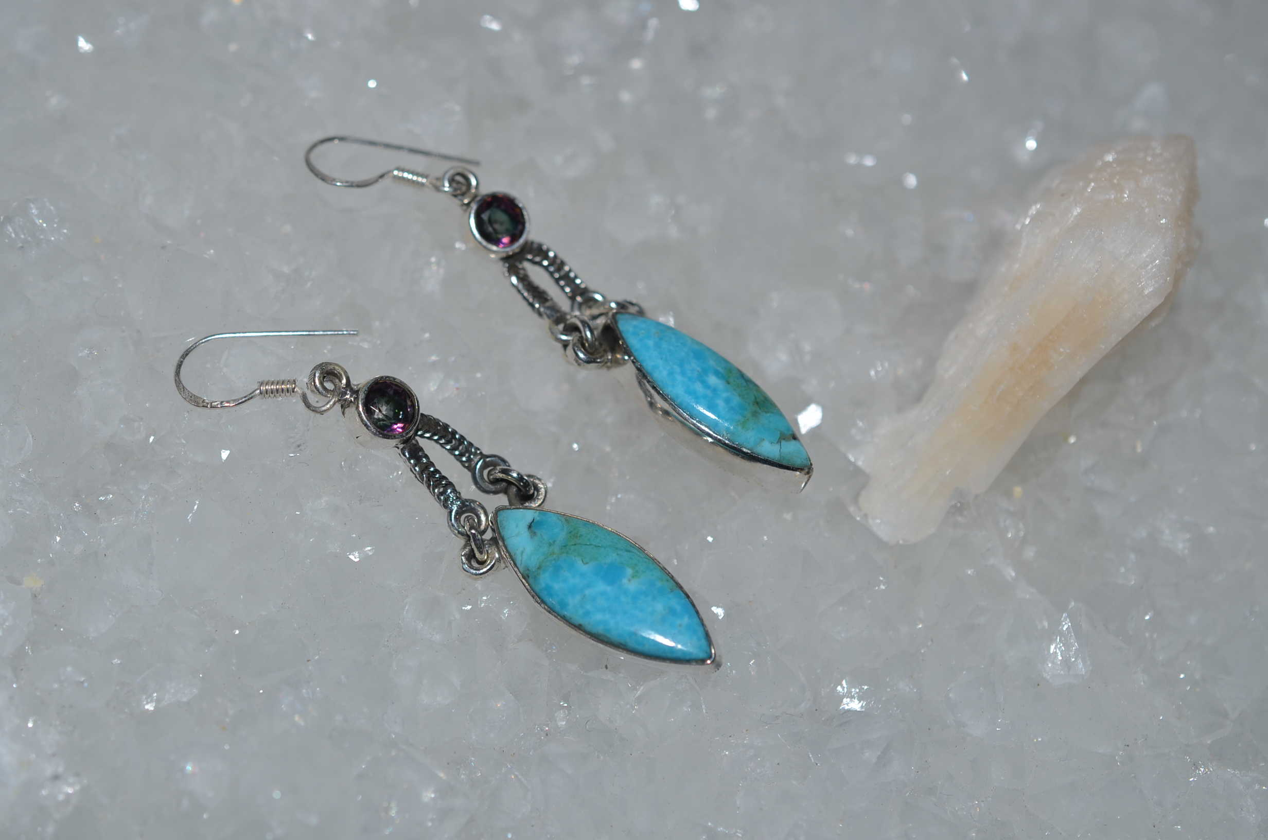 chrysoprase turquoise earrings silver black inicio