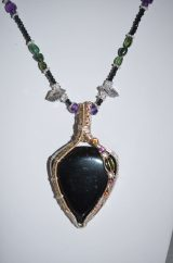 Black Tourmaline Pendant and Beaded Necklace