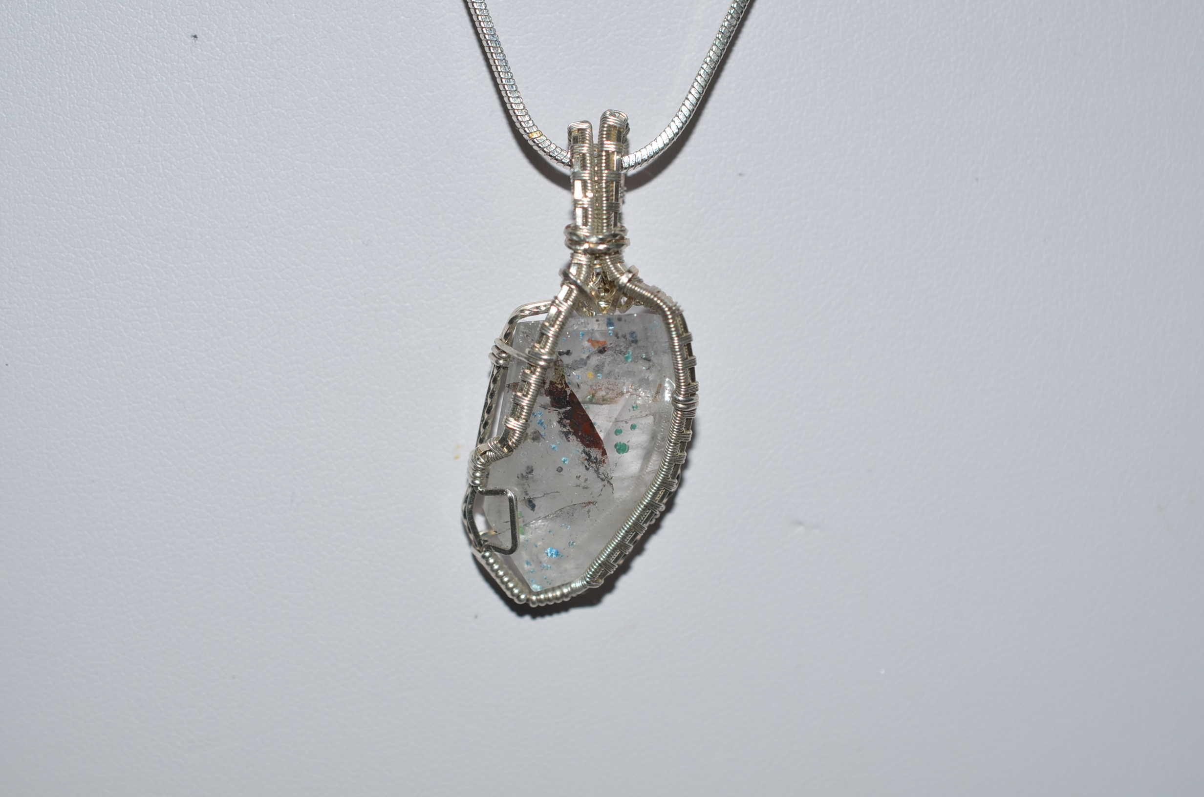 Ajoite wire wrapped pendant and chain a journey through art ajoite wire wrapped pendant and chain aloadofball Gallery