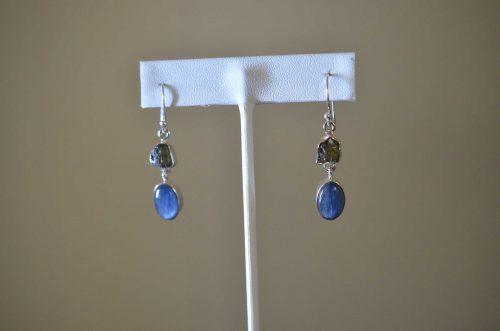Moldavite and Kyanite Earrings