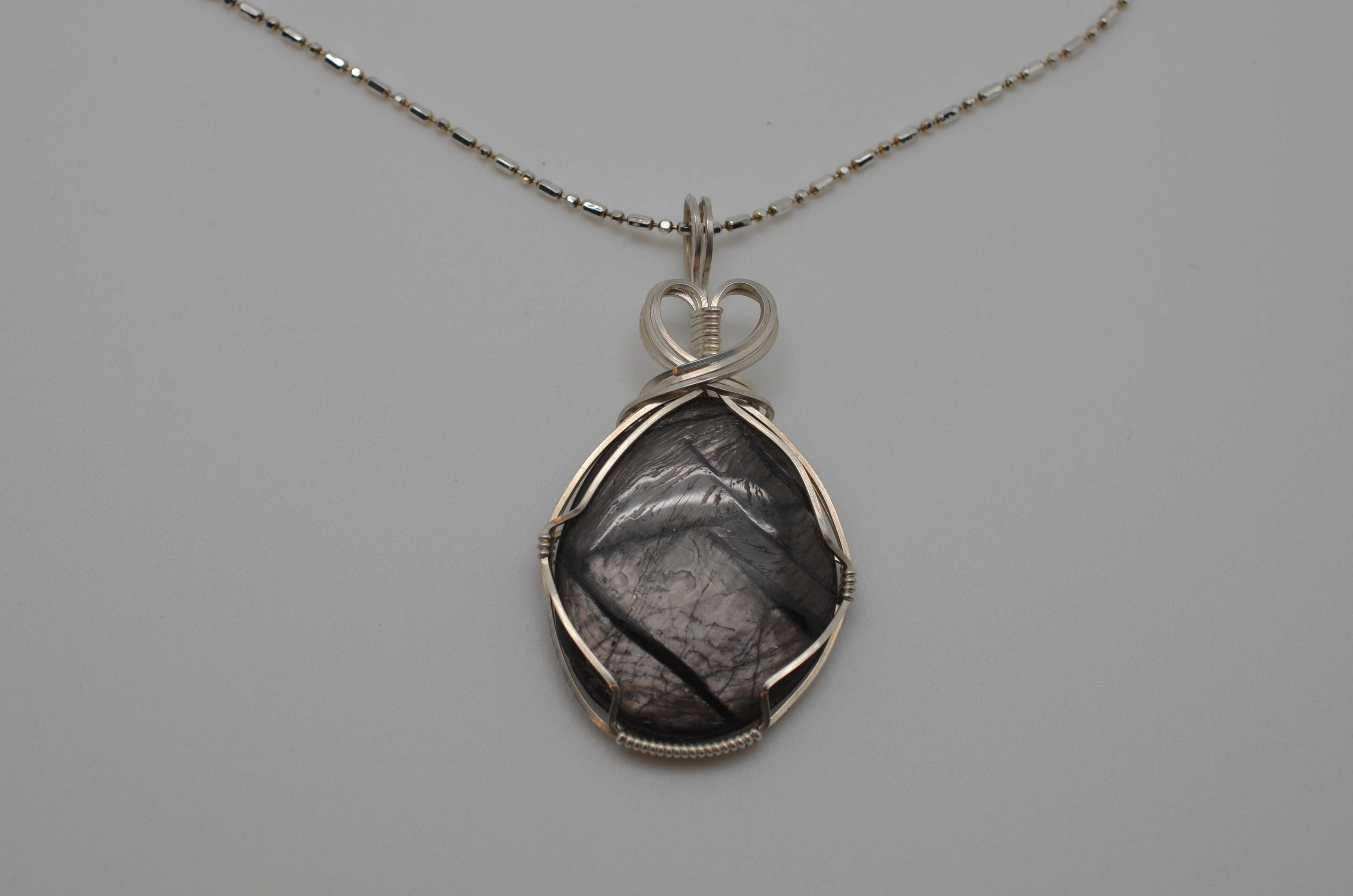 Silver sheen obsidian pendant a journey through art silver sheen obsidian pendant aloadofball Image collections
