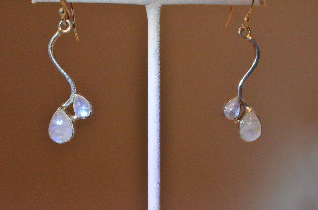 earrings stone silver rainbow moonstone and gemstone moon sterling
