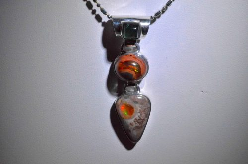 Double Opal and Emerald Pendant