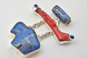 Lapis Buffalo and Coral Pendant