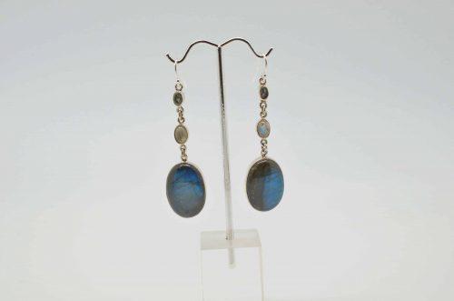 Labradorite, Moonstone, and Aquamarine Earrings